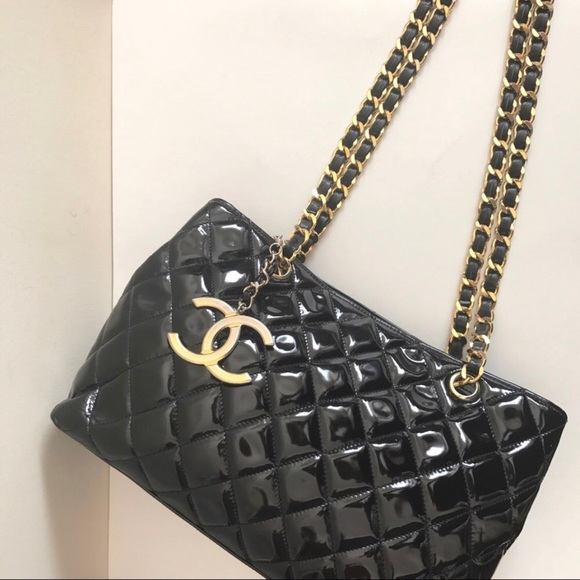 3494e50d1106 CHANEL Bags | Black Patent Leather Zippered Tote Gold | Poshmark